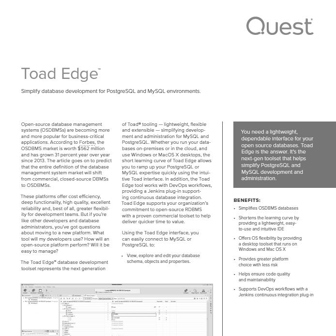 Toad Edge Simplified Development